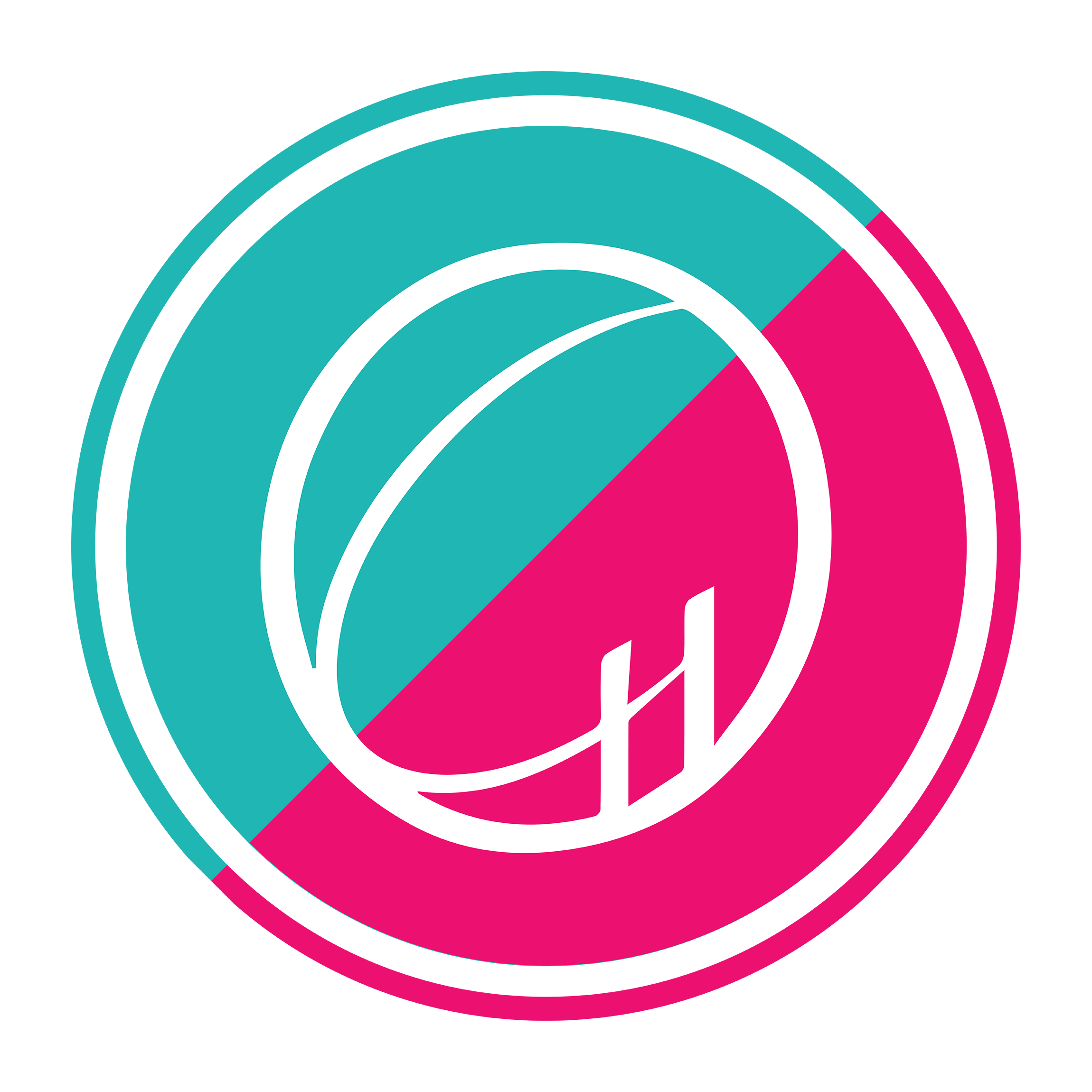Pink and teal Ontario Hall logo