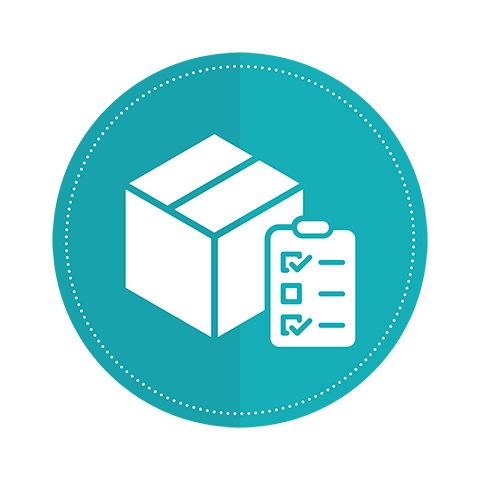 An icon of a moving box and checklist on a teal circle background.