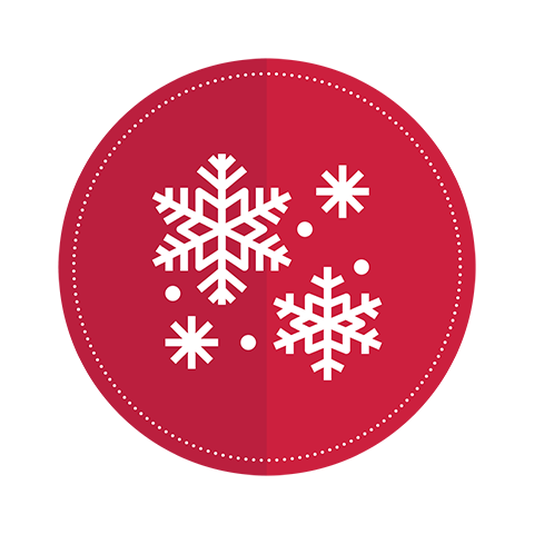 An icon of four snowflakes on a red circle background.