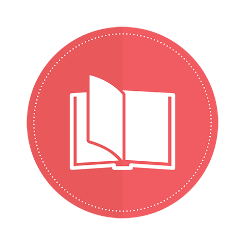 An icon of an open book on a pink circle background.