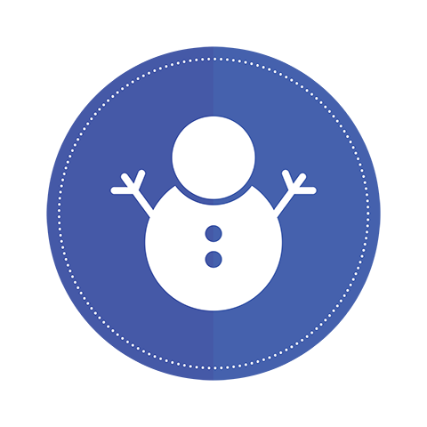 An icon of a snowman on a blue circle background.