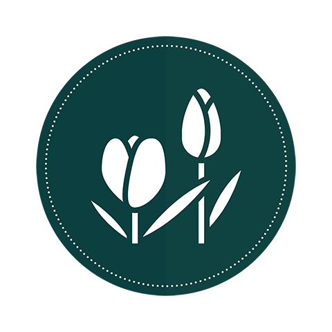 An icon of two tulips on a dark green circle  background.