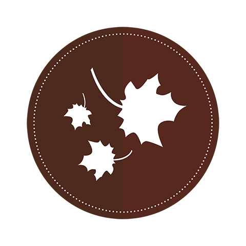 An icon of three leaves on a brown circle background.