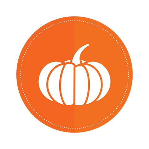 An icon of a pumpkin on an orange circle background.