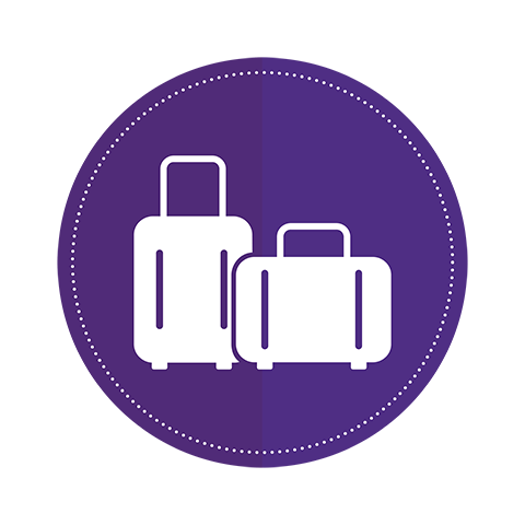 An icon of two suitcases on a purple circle background.